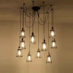 Salon metalu klasyczne obszarów wiejskich lampa wisząca Retro oświetlenie przemysłowe z żelaza pokrywa E27 Led światła wiszące dla Cafe przejściach i korytarzach