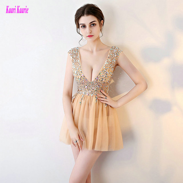 Brilliant Cocktail Dresses 2018 New Sexy Prom Gowns Short Deep V-Neck Tulle  Crystal Beading d27fcff91