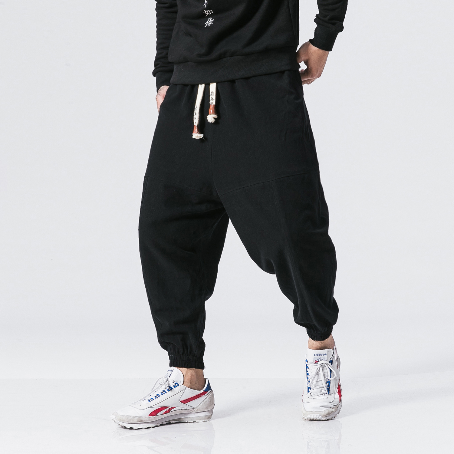 Men Winter Thicken Velvet Cotton Linen Casual Trousers Male Fashion Casual Loose Harem Pant Jogger Sweatpants Size M 5XL-in Harem Pants from Men's Clothing    1