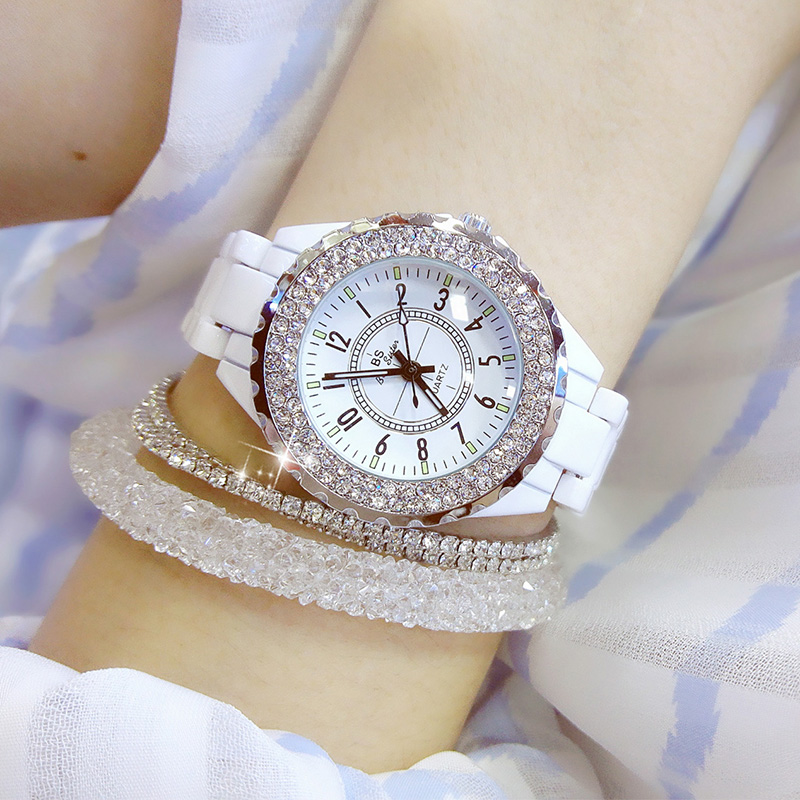 2019 Luxury Crystal Wristwatches Women White Ceramic Ladies <font><b>Watch</b></font> Quartz Fashion Women <font><b>Watches</b></font> Ladies Wrist <font><b>watches</b></font> for Female image
