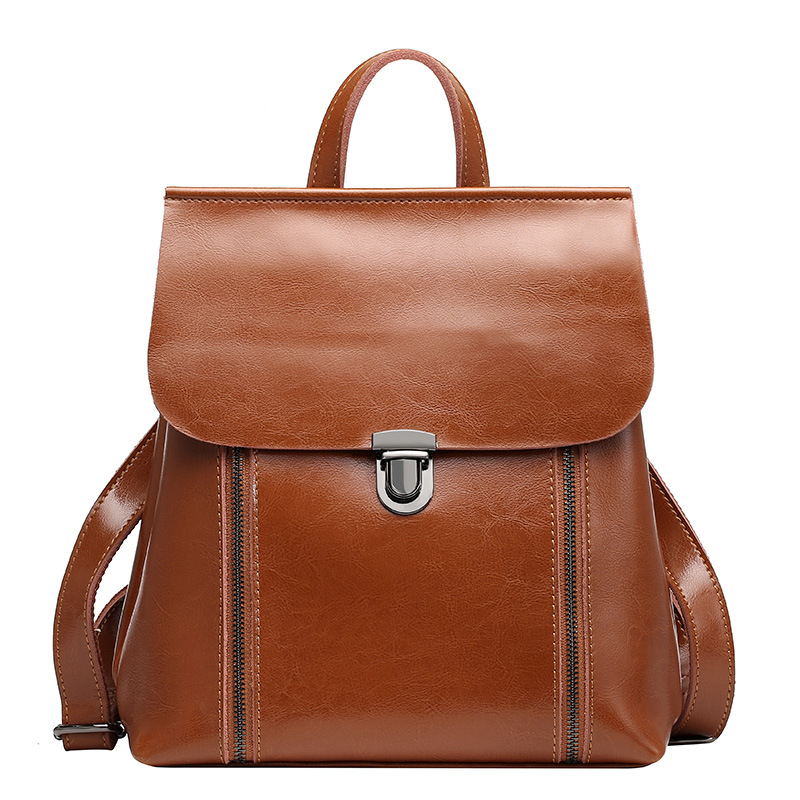 NEW Fashion Design Brand Backpack Women Cow Split Leather School Bag Retro Casual Simple Style Shoulder Bag nucelle brand new design fashion drawstring gemstone lock zipper cow leather casual women lady backpacks shoulders school bag