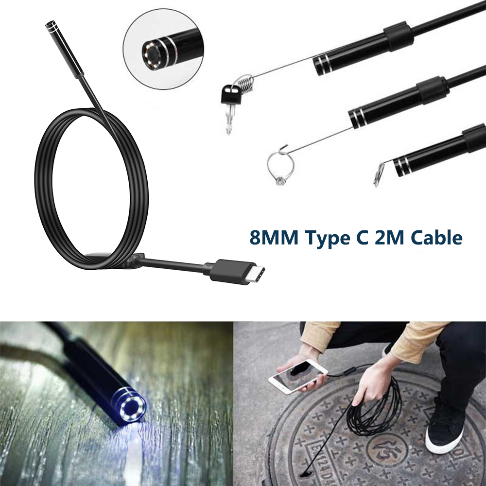 Type C Usb Endoscope Camera 8mm 720P 8led  Waterproof  Snake Endoscopic Inspection Hard Tube Camera PC Android For Huawei Phones