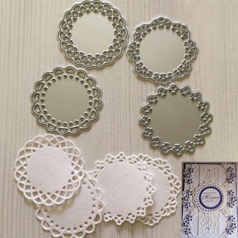 4pcs Making Scrapbook Greeting Card Decor Lace Edge Circle Frame Metal Cutting Dies Stencil Frame Embossing Template circle