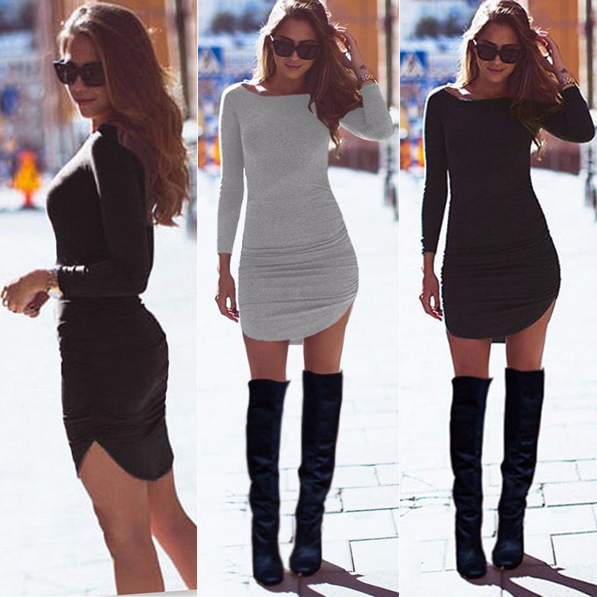 HOT Sexy Women Ladies Bodycon Party Long Sleeve Casual Tunic Top Short Mini Dress Autumn