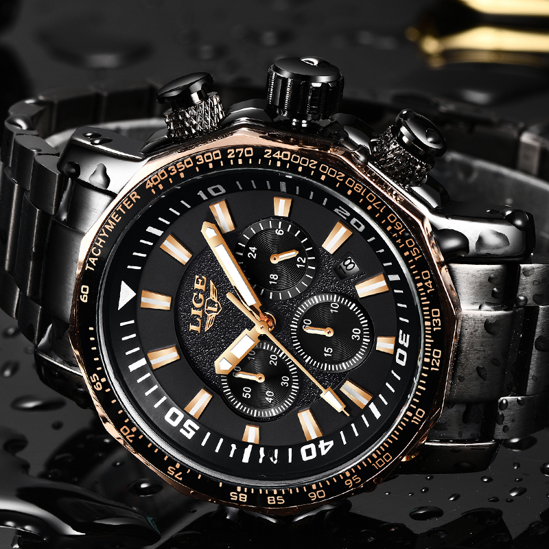 LIGE Top Luxury Brand Mens Quartz Watches Business Big Dial Fashion Casual Waterproof Stainless Steel Black Watch Male ClockLIGE Top Luxury Brand Mens Quartz Watches Business Big Dial Fashion Casual Waterproof Stainless Steel Black Watch Male Clock