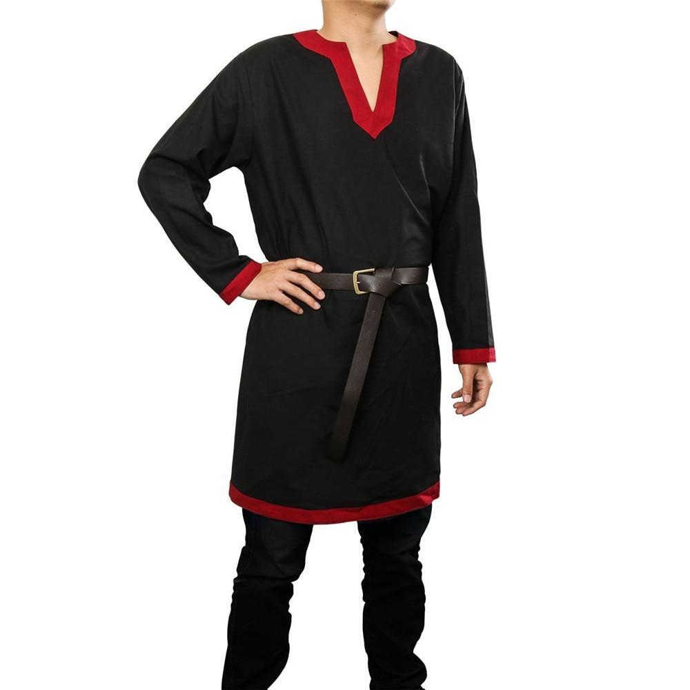 Men Medieval Renaissance Tunic Top Shirt Viking Norseman Saxon Cosplay Costume