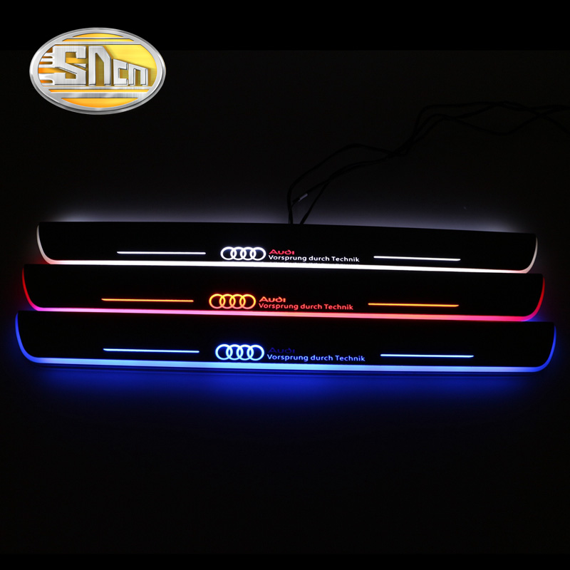 SNCN 4PCS Acrylic Moving LED Welcome Pedal Car Scuff Plate Pedal Door Sill Pathway Light For Audi A6 S6 C7 2013 2014 2015 12pc canbus car led light bulbs interior package kit for 2012 2014 audi a6 c7 dome glove box trunk license plate lamp white
