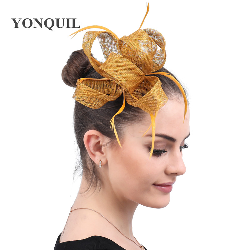 Gold Female Accessories Hair Fascinators Hat Women Feathers Clip Headwear Headband Cocktail Party Occasion Headdress For Wedding