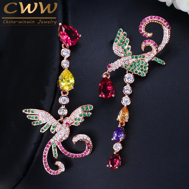CWWZircons Unique Multi Red Green Cubic Zirconia Rose Gold Color Long  Phoenix Drop Dangle Earrings For Women Wedding Party CZ086 f3f206f51f58