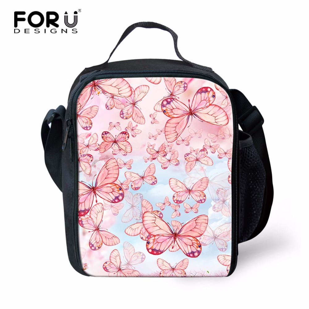 FORUDESIGNS Butterfly Pattern Lunch Bag Lunchbox Women Handbag Polyester Picnic Bag Insulated Thermal Lunchbox For Kids Adult