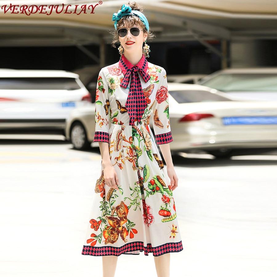 Manches Femmes Col Robe Chaude Beige Photo mollet Mince 2019 Bureau Patchwork Mode Robes Mi As Nouvelle Arc 3 4 Fleurs htBQdosCrx