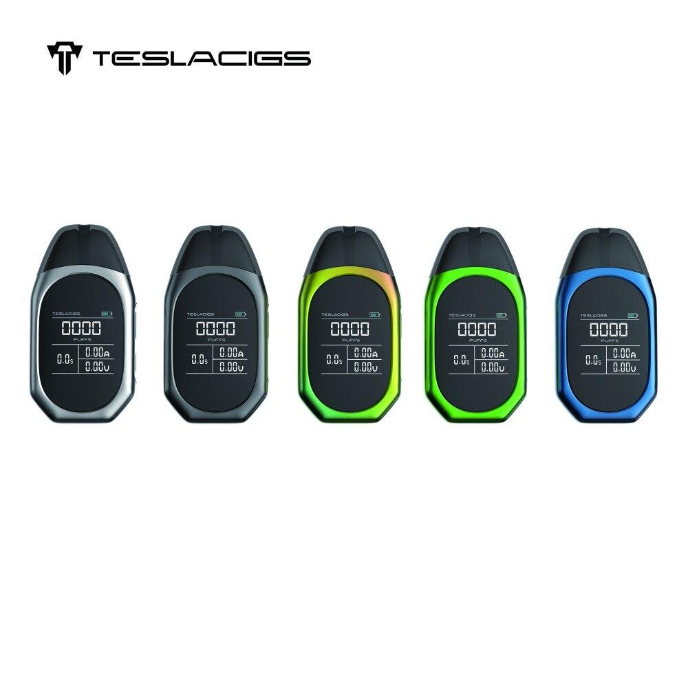 Original Teslacigs minuscule Cigarette électronique TPOD Kit intégré 500 mAh batterie 2 ml Pod Vape cartouche 1.4 pouces écran couleur