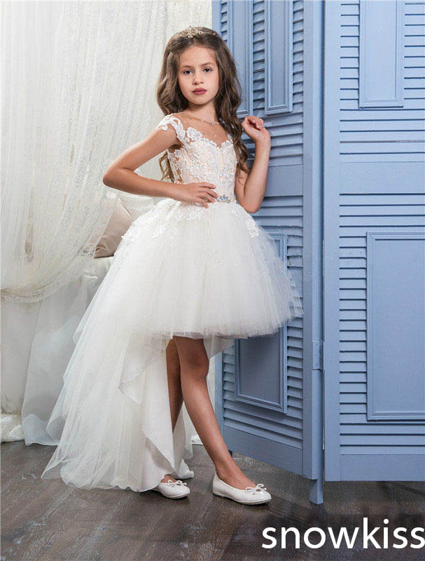 Beauty white/ivory first communion gown lace crystals mini flower girl dress for kids evening party dresses with train see thru mini lace dress