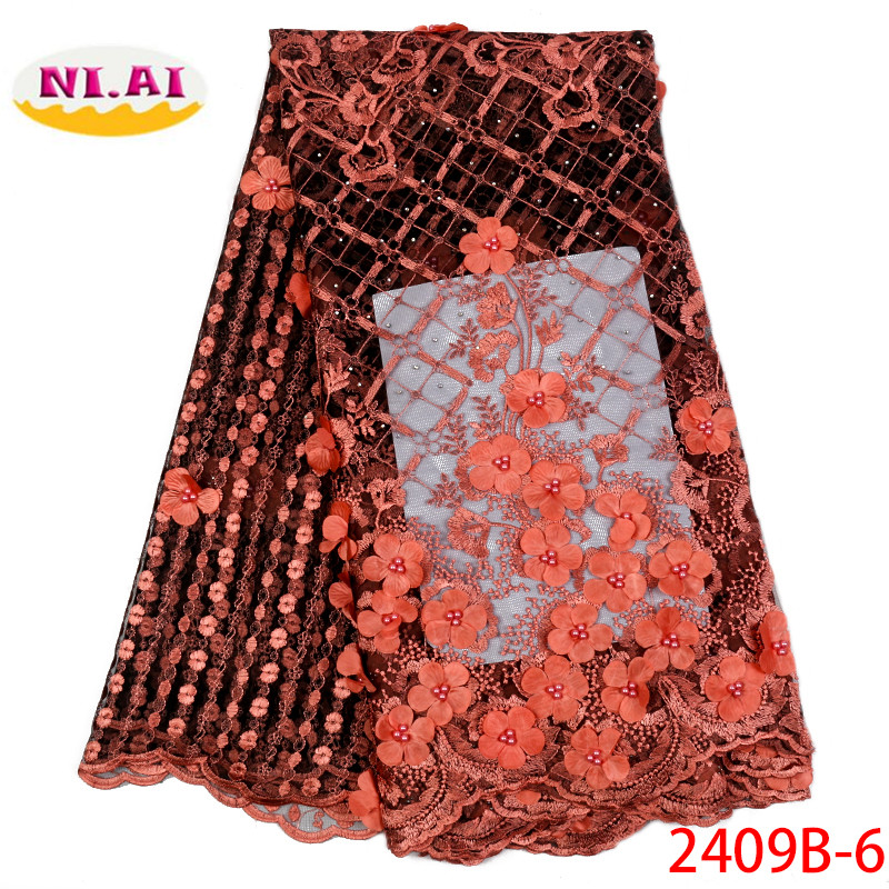 African Beaded 3D Tulle Lace Fabric 2019 African French Lace Fabric High Quality Nigerian Embroidery Tulle French Lace XY2409B-1