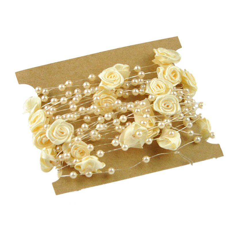 5 Meters Fishing Line Artificial Pearls Flower Beads Chain Garland Flowers Wedding Party Decoration