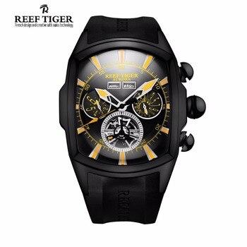 Reef Tiger Brand Casual Sport Watches Men Black Steel Rubber Strap Luminous Tourbillon Analog Quartz Watch Relogio Masculino 機械 式 腕時計 スケルトン
