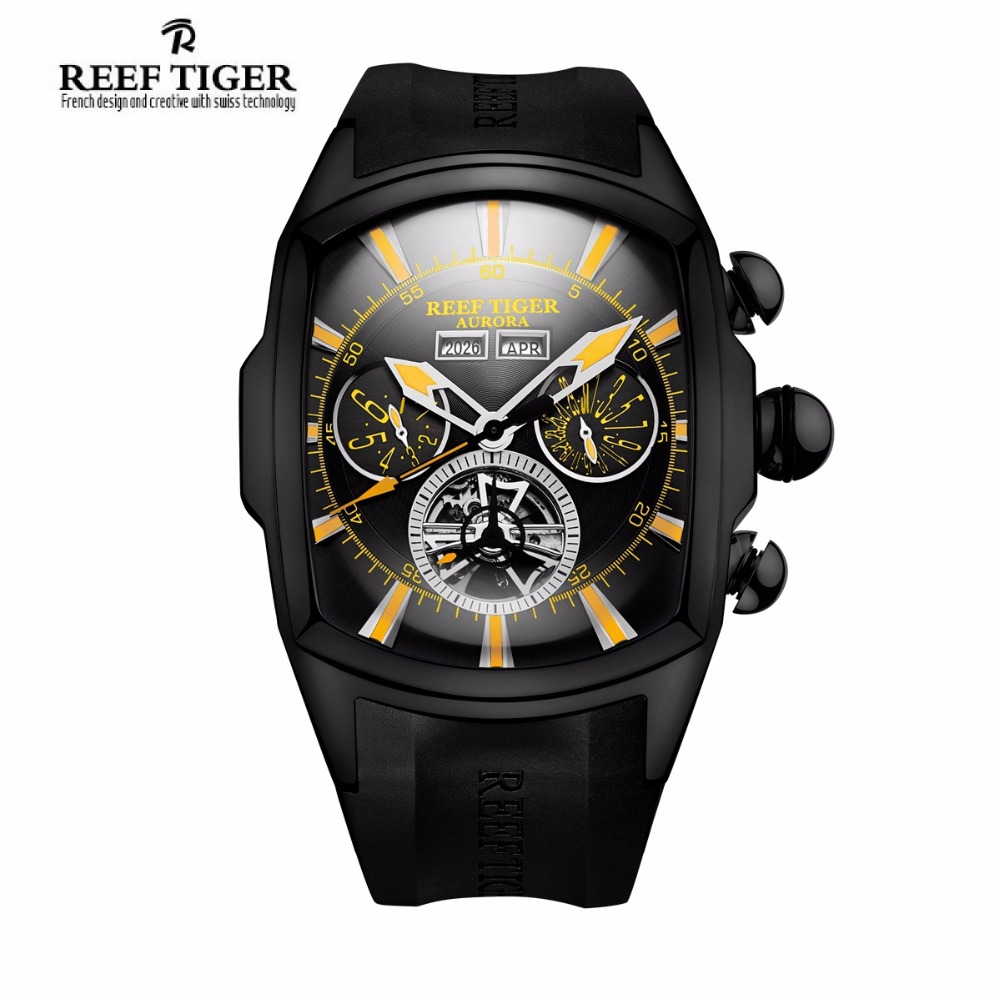 Reef Tiger Brand Casual Sport Watches Men Black Steel Rubber Strap Luminous Tourbillon Analog Quartz Watch Relogio Masculino reef tiger brand men s luxury swiss sport watches silicone quartz super grand chronograph super bright watch relogio masculino