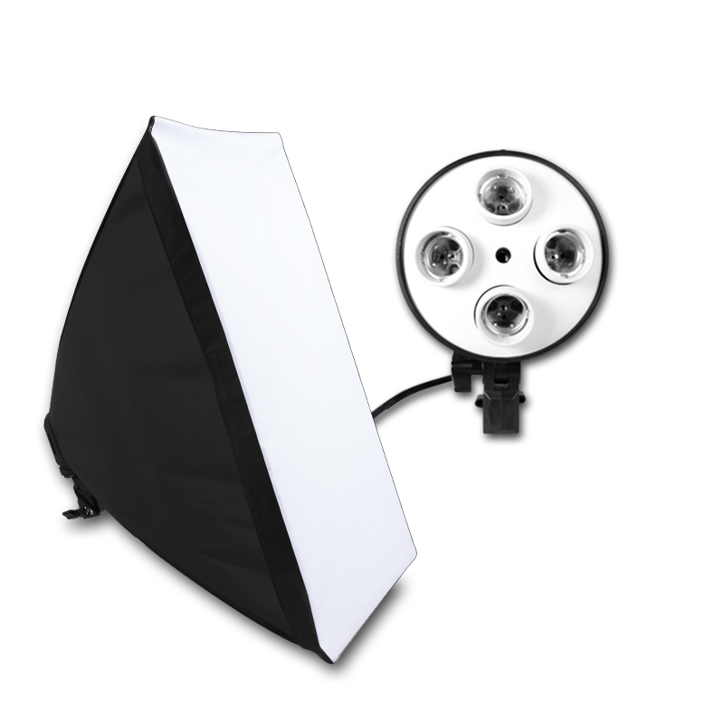 Photographic Equipment Photo Studio Soft Box Kit Video Four-capped Lamp Holder Lighting With 50x70cm Softbox Photo Box