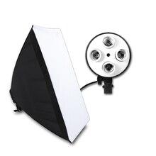 Photographic Equipment Photo Studio Soft Box Kit Video Four capped Lamp Holder Lighting With 50x70cm Softbox Photo Box