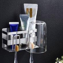 Нержавеющая Сталь Настенная подставка для зубных щеток подвесная чашка для зубной пасты для хранения ванной комнаты Новинка