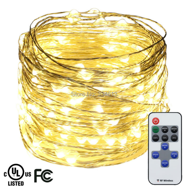 20M 66FT 200LED Silver Wire Warm White LED String Lights Holiday Starry Lights Christmas Fairy Lights with Remote+ UL CE Adapter