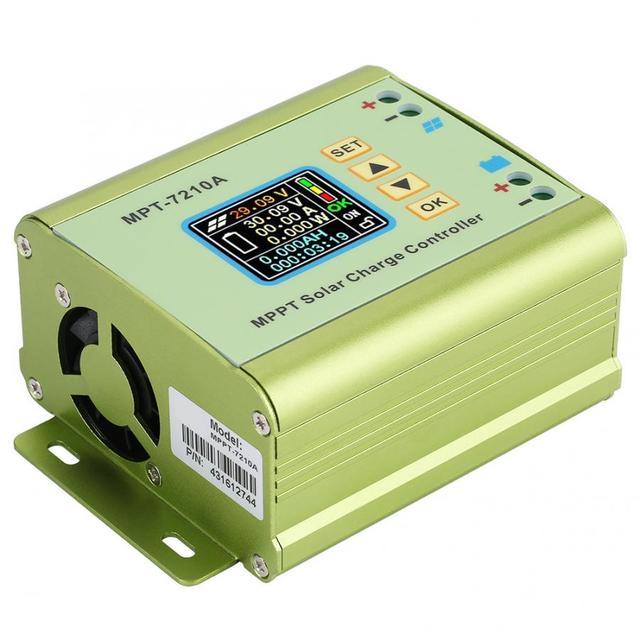 Controlador de carga Solar MPPT LCD DC DC 24V, 36V, 48V, 60V, 72V, 0 10A, regulador de refuerzo de batería de litio ajustable, MPT 7210A