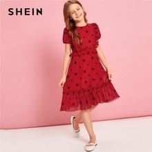 Шеин Kiddie Красная звезда печати оборками подол праздничное платье для девочек Лето 2019 г. с пышными рукавами на молнии милые платья для подростков