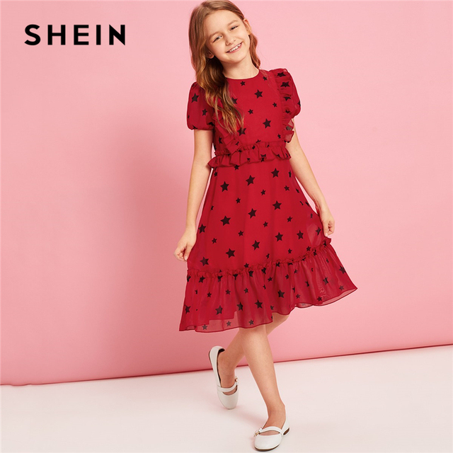 SHEIN Kiddie/праздничное платье для девочек с оборками и принтом в виде красных звезд 2019 г., летние милые платья на молнии с пышными рукавами для подростков