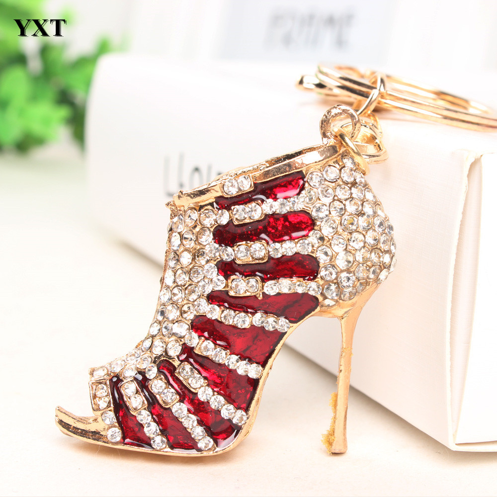 Red Shoe High Heel Charm Pendant Rhinestone Crystal Lovely Purse Bag Keyring Key Chain Birthday Party Gift Friend