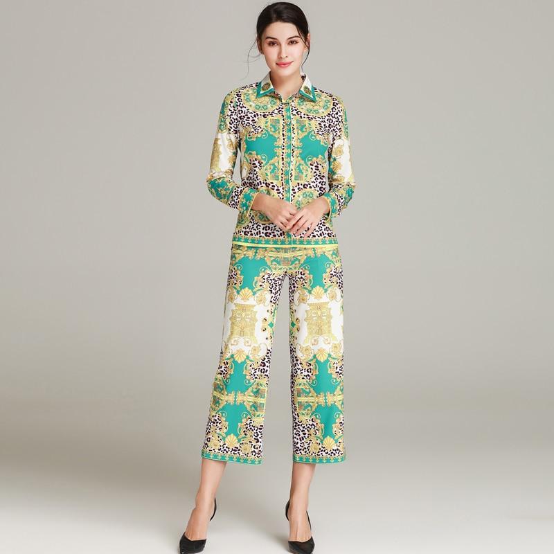 Roosarosee Printemps Jambes Pièces Veau Vert Nouvelle Été Designer Blouse Rouge Imprimer Large Costume Mi Femmes Ensemble Pantalon 2019 Tops De Deux dwcSqpfvH
