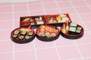 Image 5 - 2PCS1/6 Scale Miniature Janpanese Sushi Rice Roll for Dollhouse Decor Pretend food for blyth Barbies bjd dollhouse kitchen toys
