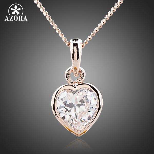 c70d2649e78a3 AZORA القلب زهرة كريستال الذهب اللون Stellux النمساوي كريستال دلاية مجوهرات  قلادة TN0091
