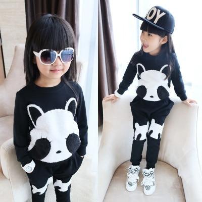 Cute Children Panda costume  Cartoon panda pattern long sleeve costume for kids 2 pices suits