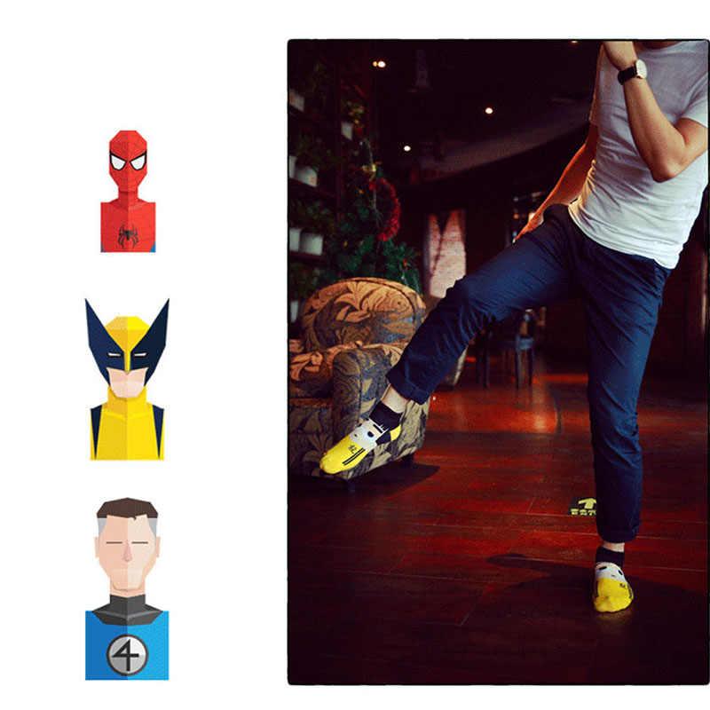 크기 36-43 남자 하라주쿠 양말 닌자 배트맨 수퍼맨 스파이더 맨 캡틴 아메리카 양말 어벤저 스 짧은 참신 카와이 양말면