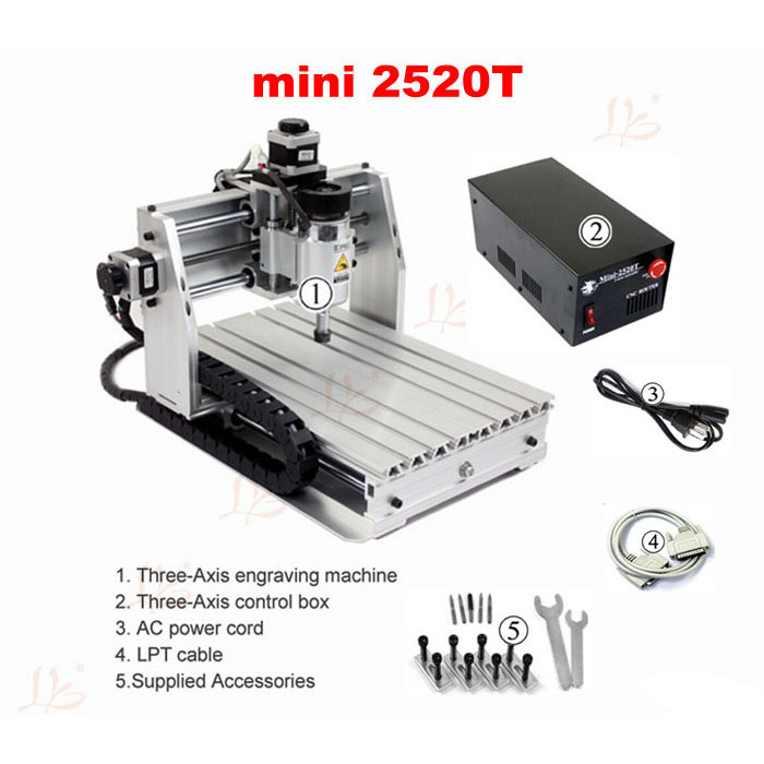 Free tax to Russia mini cnc lathe machine woodworking router 2520T ER11 collet russia free tax cnc router wood lathe machine cnc 3040z d500w 4axis usb port for wood working with ball screw
