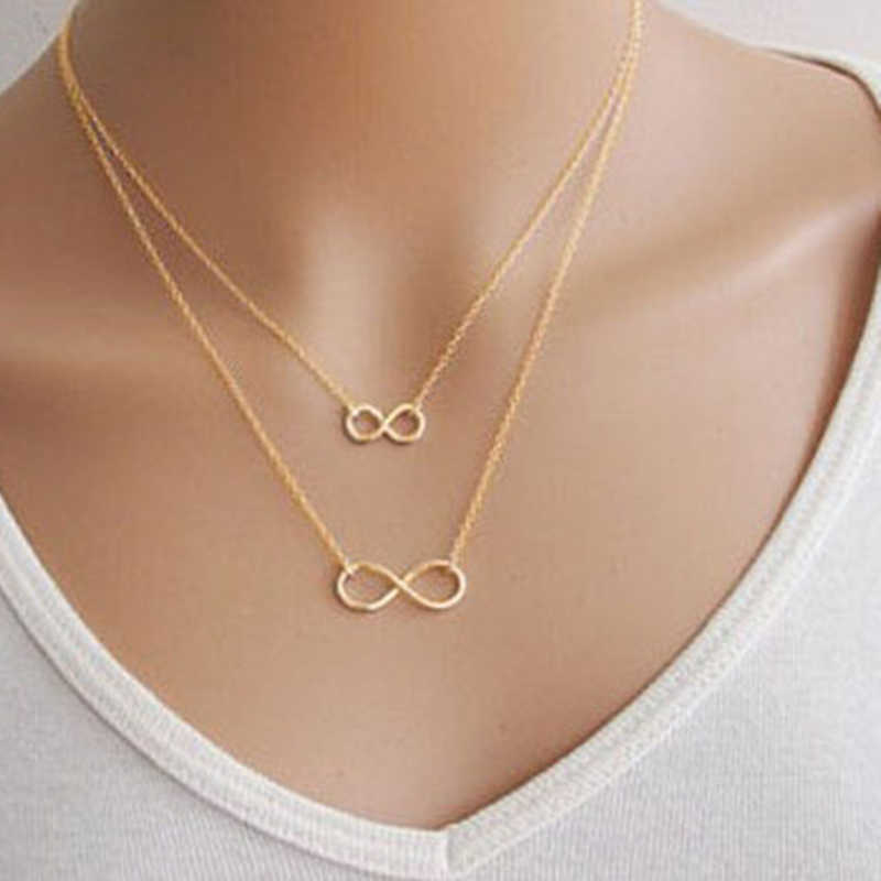 Fashion Simple Bohemain Heart Moon Pendant Chain Necklace For Women Gold Color Multi Layer Choker Statement Necklace Charm