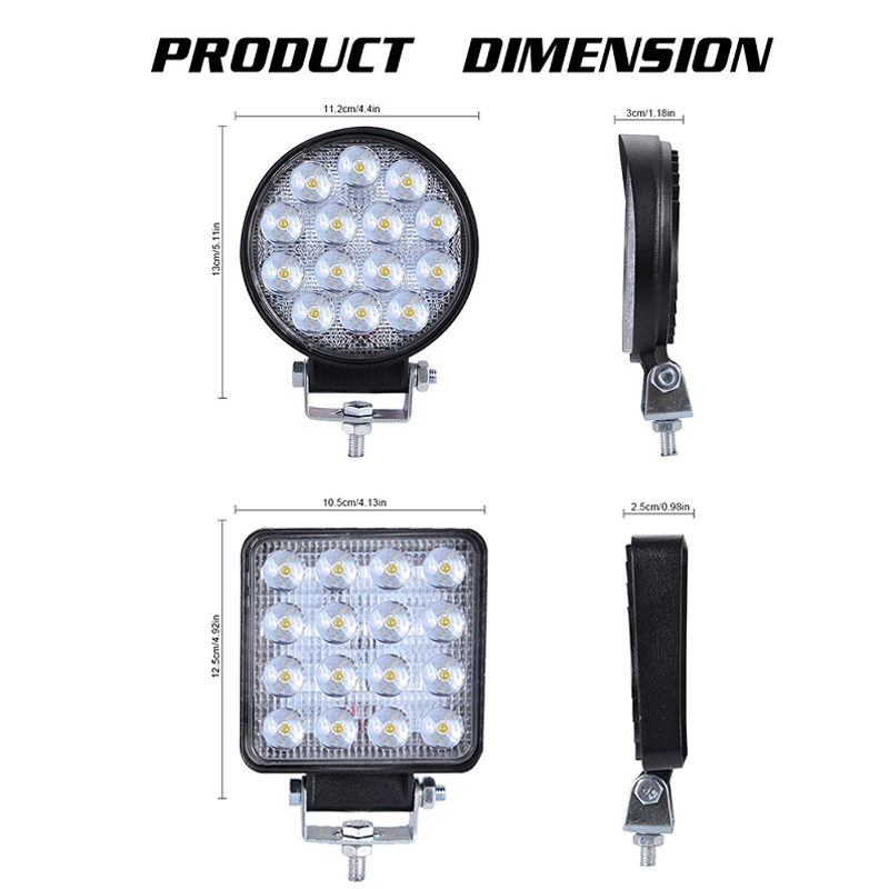 2Pcs 4 Inch 160W 140W Waterproof Offroad LED Light Bar Combo Beam Spotlight 6000K 9000LM Round Square LED Work Light for Truck in Light Bar Work Light from Automobiles Motorcycles