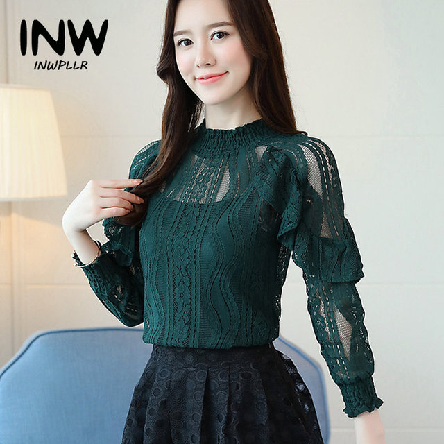 8741ff602bc8bf 2019 New Arrival Women Blouse Green Lace Tops Autumn Long Sleeve Ruffle  Shirts Hollow Out Transparent Renda Blusas Mujer Moda