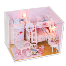 Princess DIY Cottage with Music and LED Children's Handmade Wooden Dollhouse Dust Cover Creative Puzzle Birthday Gift for Girls diy puzzle assembled villa provence cottage child handmade dollhouse model set combination boy girl birthday gift wj1010 ingbaby