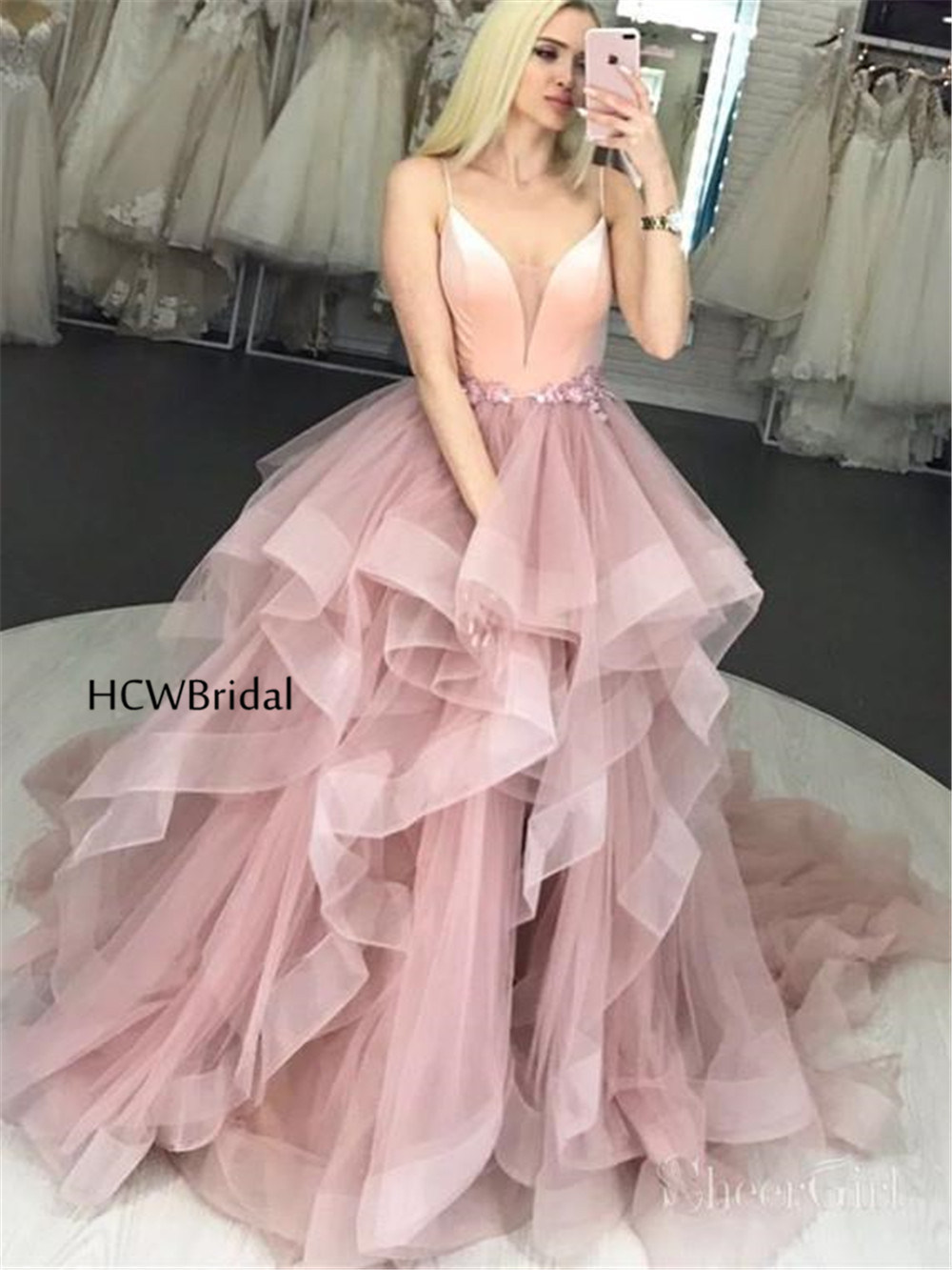 2019 New Tiered Tulle Long Formal Evening Dress Spaghetti Strap A Line Sexy Prom Gown Custom Made Special Occasion Women Dresses