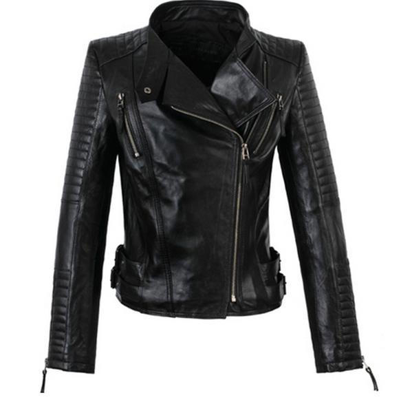 America new long sleeved street woman jackets 100% genuine sheepskin leather  jacket womens high quality coat S 3XL-in Leather   Suede from Women s  Clothing ... c0d79165f