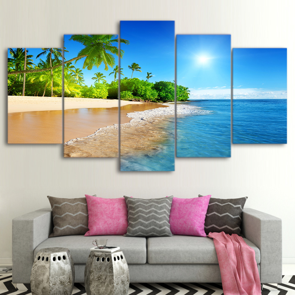 Wall Art Decor Living Room Framework 5 Pieces Sea Water Palm Trees Sunshine Seascape Modular Paintings Canvas Pictures HD Prints no frame canvas