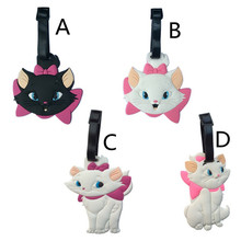 Купить с кэшбэком New Cartoon Cute Marie Cat PVC Baggage Tags Portable Suitcase Name Address ID Handbag Label Travel Accessories Luggage Tag