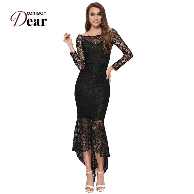 9c2d5e3e88b8 Comeondear VA1063 Plus Size Off Shoulder Party Long Dress Mermaid Evening  Lace Long Sleeve Vestido De Renda Festa Sexy Dresses