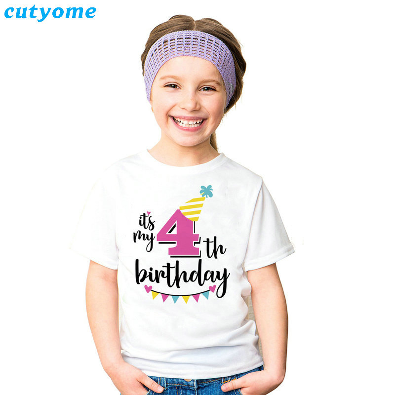 Summer Baby T Shirt Tops Children's Clothing Happy Birthday Girls Boys Short Sleeve Kids Clothes Tee Girls Boys' T-shirts Casual (44)