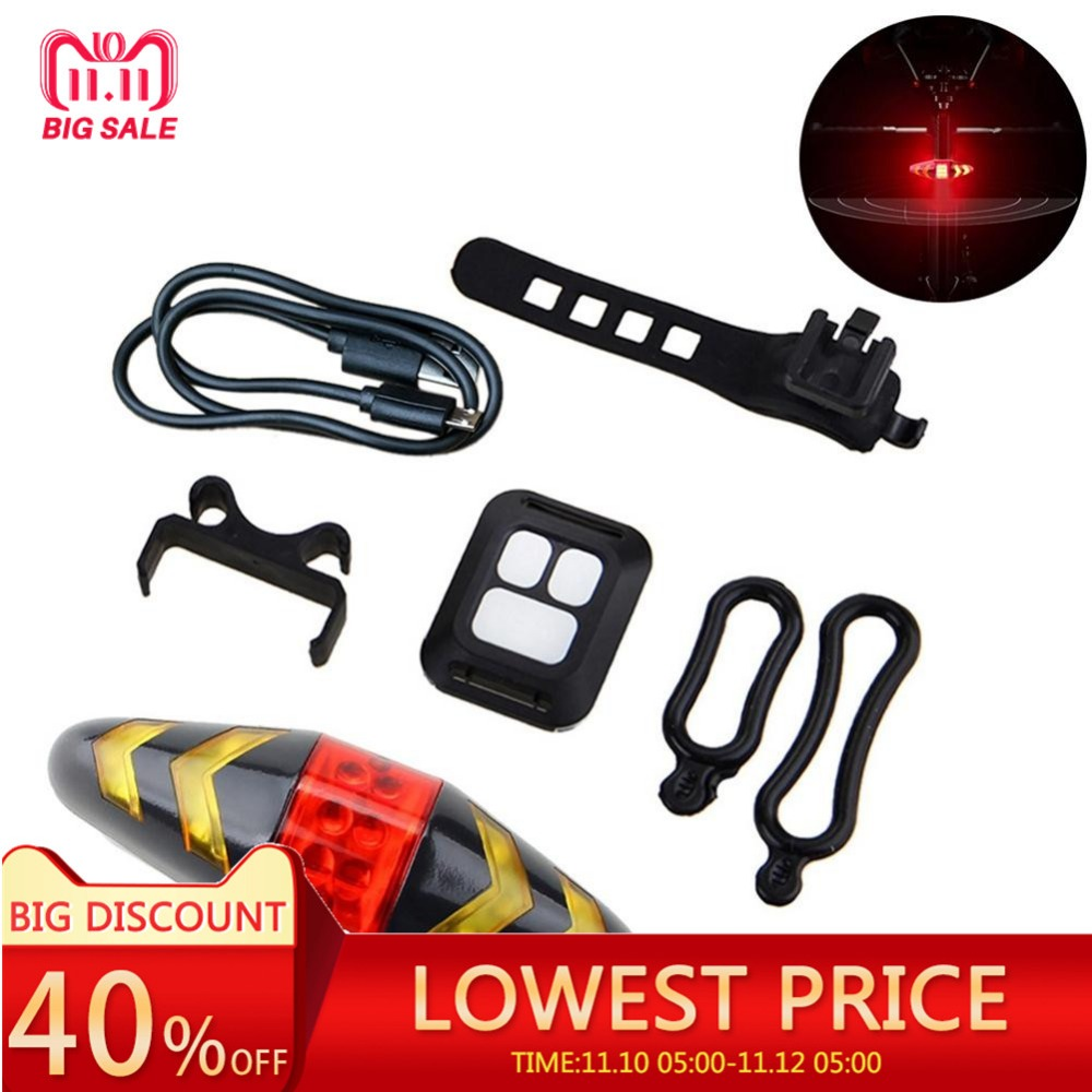 Outdoor Bicycle Taillight Wireless Remote Control Mountain Bike 2-in-1 Turn Signal Taillight USB Riding Light Bicycle Accessory tadpole shape outdoor bicycle 1 led 2 mode signal light white 2 pcs 2 x cr2016