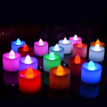 Nowy kreatywny LED świeca płomienna świeca elektroniczna symulacja kolor płomień światło herbaty strona główna ślub Birthday Party Decoration tanie tanio Wesela Liplasting Świeca lampy Kolorowe płomień Filar Świeczka led HL76900 Polypropylene Plastic
