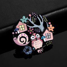 2019 Colorful Enamel Owl Brooch Vintage Jewelry High Quality Cartoons Snail Tree Pin Kids Scarf Clothes Pins Brooches for Women