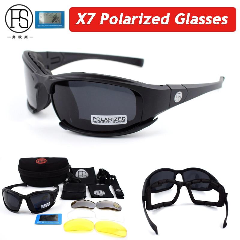b9cb742ddc116 FS X7 C5 Polarizada óculos de Sol Militares Airsoft Tactical Shooting  Glasses UV400 Óculos de Desporto Ao Ar Livre Ciclismo Caminhadas