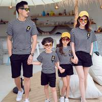 2019 new mom and son matching clothes set striped cotton shirt + shorts 2pcs family clothing/outfits mutter tochter kleidung 8 9